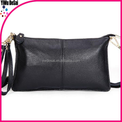 hot selling women black genuine leather messenger bags