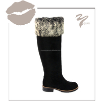 Black ladies flat heel fashion women winter boots shoes with fur keep warm brand knee high boots