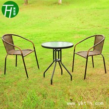 Outdoor Leisure Chairs and Glass Table set