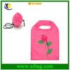 Custom fashion rose shaped foldable flower shopping bags