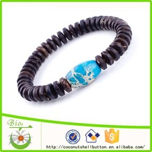 15.5cm blue turquoise color barrel shape impression jasper stone custom imitation turquoise bracelet jewelry