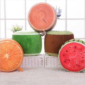 Crianças sofá inflável fezes 3D digital print fruta durável golpe realista up frutas pufe de viagem resto travesseiro