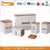 Bamboo Cover Square Bread bin Biscuits Tea Coffee Sugar tin canister