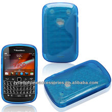 Blue Skin S Line Mobile Phone Accessories For Blackberry 9900 Clear TPU Case