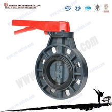dn150 wafer style lever handle UPVC butterfly valve