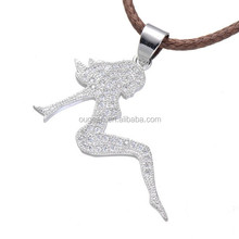 2016 leather core chain pendant necklace women pave Zircon silver lady necklace