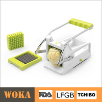 Hot Manual Potato Chips Cutter With Two SS Blades, Plastic French Fry Cutter