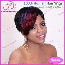 Cheap Price Short Reddish Highlight Natural Indian Women Hair Wigs For Black Women