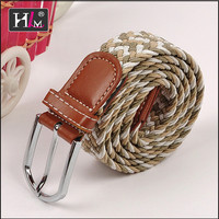 2015 Latest Italy Italian braided stretch belt brown with Brown leatherr Tabs