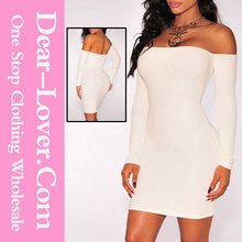 Off the shoulder long sleeves white dress short tight party dresses