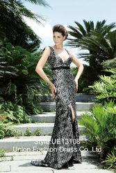 2015 New Fashionable & Sexy wide strap design plus sexy deep v-neckline design barelegged floor-length evening dress