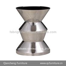 De acero inoxidable de vidrio negro pequeña mesa auxiliar z025#