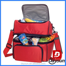 Two compartment food container insulated lunch cooler bag