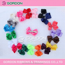 4 inch neon color with white dot printed ribbon bow , 3 piece ribbon bow per set
