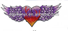heart with feather wings rock biker embroidery