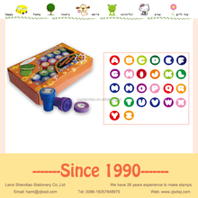 Plastic stamps set Round alphabet stamps with ink flower stamps in PVC box
