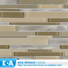 Glass Mosaic Long Strip Mixed Brushed Aluminum Metal Mosaic Glitter For Walls