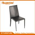 Marco de acero moderna del pvc negro silla de comedor de cuero