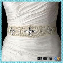 Rhinestone white color elegant wedding belt,beaded Belt