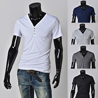 Freeshipping wholesale 5colors for choice black short sleeve with button pattern solid casual t shirt