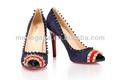 Moda mujer azul pavo real zapatos elegantes zapatos tacón alto