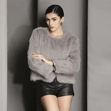 QC2232 -3 natural real rabbit fur woven jacket coats for women