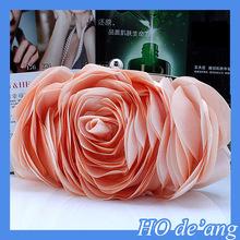HOGIFT Rosette Flower Silk Evening bag,colorful party clutch,cheapest handbag