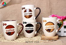 Fashion ceramic coffee mug silkscreen and handpaint mug with handle