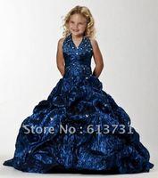 2012 Hot Style Cheap Halter Beaded Christmas Dark Blue Girls Pageant Dresses PT13240