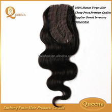 Queena Virgin Remy Body Wave 100% Human Hair Lace Invisible L Part Weaving Closure 12 - 14 Inch