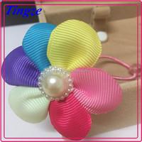 Whoelsale kids elastic hair band girls unique flower multicolor korea hair accessories TD31