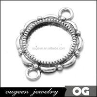 Inner size 14mm Antique Silver Plated Round Pendant trays, pendant bezel, pendant blank