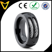 Vlink jewelry Men Black Titanium Ring Wedding Band with Stainless Steel Cables and Screw Design Wedding Ring