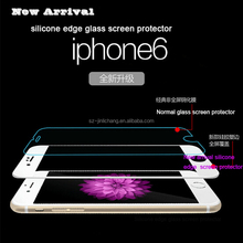 silicone edge 9h hardness anti-fingerprint tempered glass screen protector for iphone 6