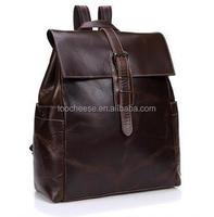 Men's leather shoulder bag backpack men crazy horse leather backpack tide bag leather bags