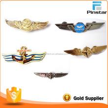 Die casting gold plating metal 3D pilot wings lapel pin badge