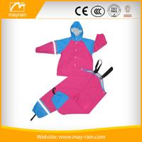 PU waterproof customized kids polyester rain suit good quality&red rain suit