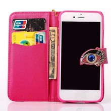 Fashion Owl eyes bling leather case for iphone 6 ,for iphone 6 case leather new !