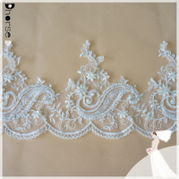 Hand beaded bridal lace/wedding lace trim/latest embroidery flower designs 20cm wide by the yard-DHBL1708