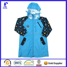 Fashion Design Custom Print Waterproof Nylon Rain Coat Kids
