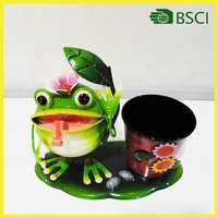 Round shaped frog metal flower pot for special