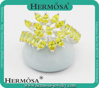 Hermosa Jewelry HOT SALE 925 Sterling Silver Dashing Citrine Women Party Rings Jewelry Accessories