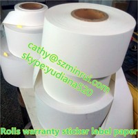 Factory wholesale self adheisve destructible vinyl rolls,eggshell sticker paper in rolls