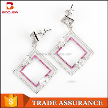 gemstone costume square shaped jewelry silver dangle earrings