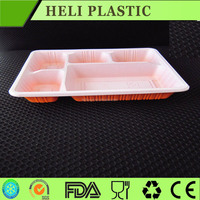 Restaurant plastic food packaging container with 5 compartments