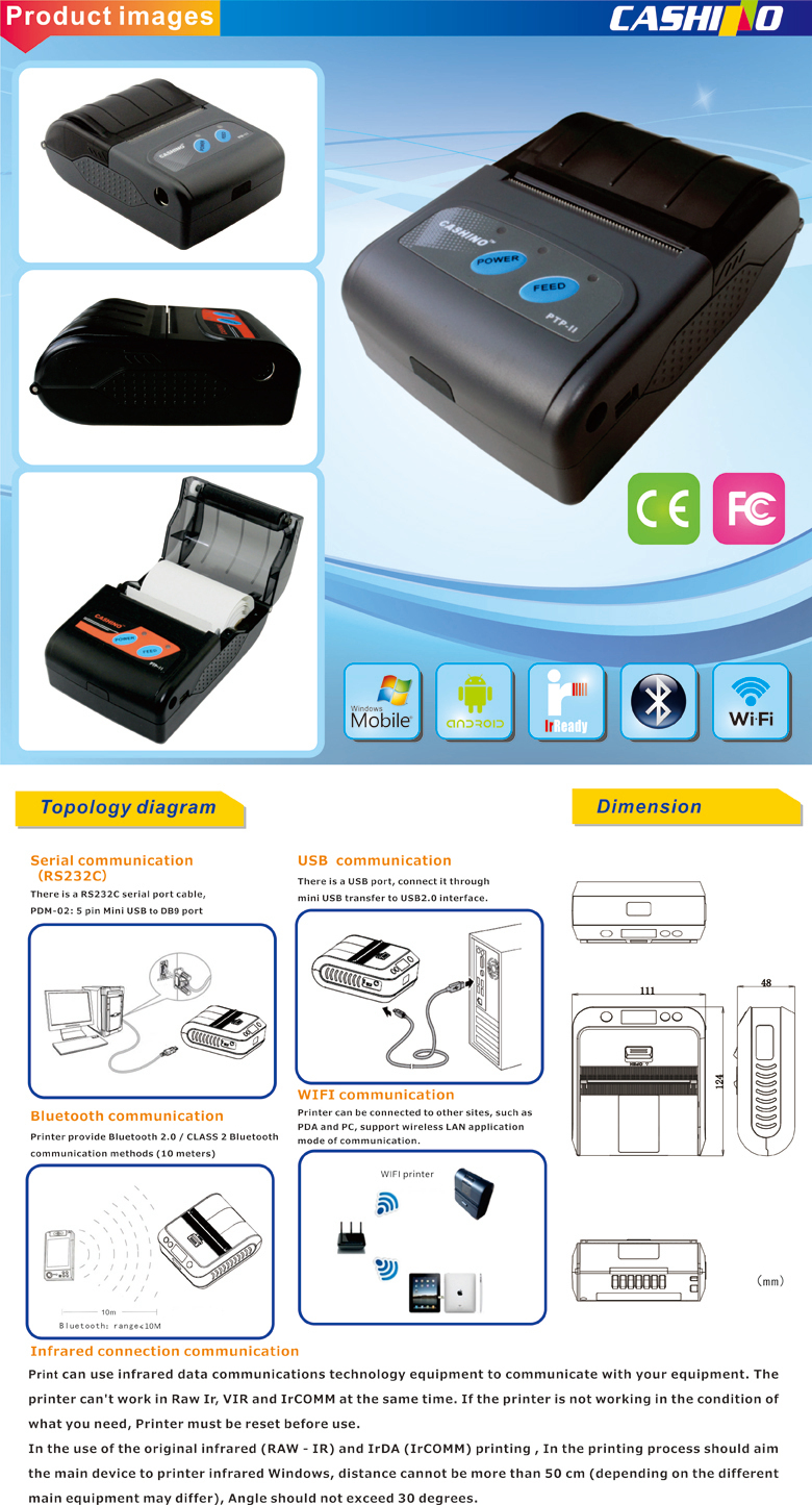 58 мм мини портативный Bluetooth мобильный термальный чековый поддержка принтеров android смартфон