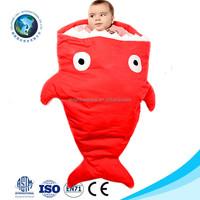 Cute fashion cheap warm soft stuffed plush red shark baby winter sleeping bag