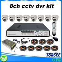 Factory big sale 8 Channel DVR with 8 indoor dome cmos 800tvl hd dvr security camera system