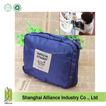 Navy blue quality 210D ripstop polyester Storage Case Package Cosmetic Pouch Makeup Bag