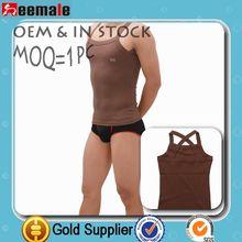 New Arrival 2014 Men Slim Stringer Vest 100% Cotton Square Collar SU15002